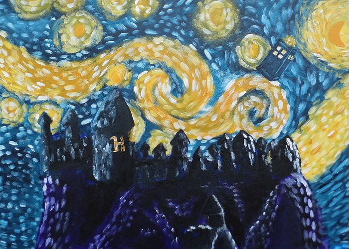 Fandom Greeting Card featuring the painting Dr Who Hogwarts Starry Night by Jera Sky