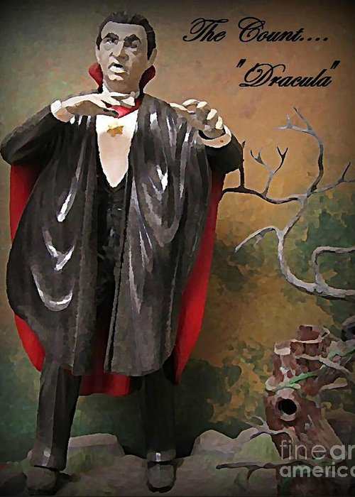 Nightmares Greeting Card featuring the painting Dracula Model Kit by John Malone