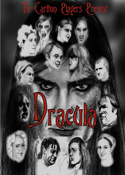 Pencil Drawing Greeting Card featuring the drawing Dracula by Steve Jones