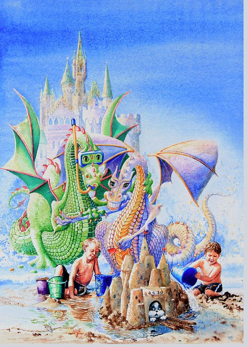 Beach Scene Greeting Card featuring the painting Dragon Castle by Hanne Lore Koehler