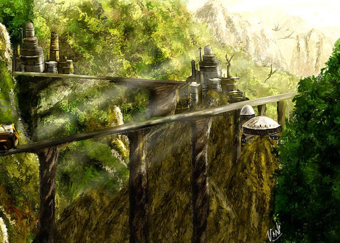 Greeting Card featuring the digital art Dragon Land by Viny Mathew