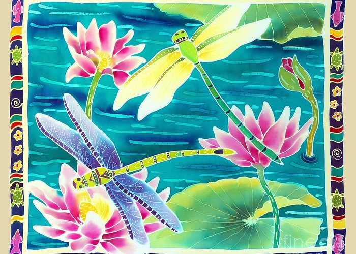 Dragonfly Greeting Card featuring the painting On The Breeze Of Dragonflies by Harriet Peck Taylor