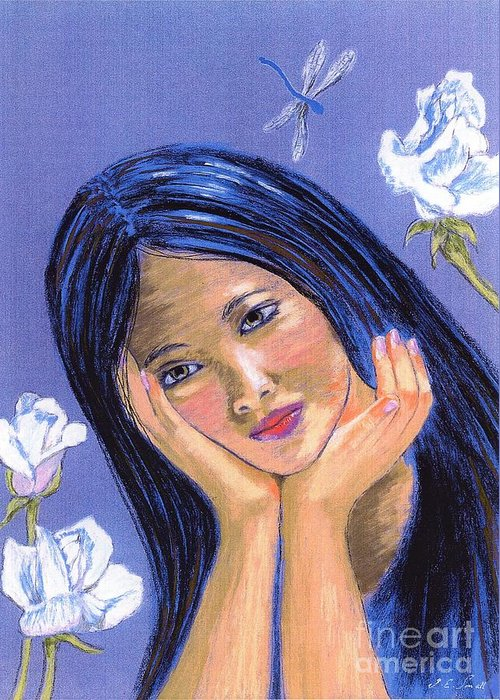 Serenity Greeting Card featuring the painting Dragonfly Dreamer by Jane Small