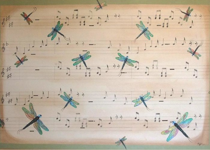 Dragonfly Greeting Card featuring the painting Dragonfly Symphony by Cindy Micklos