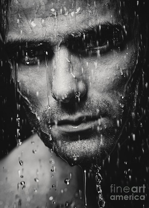 Man Greeting Card featuring the photograph Dramatic Portrait Of Man Wet Face Black And White by Oleksiy Maksymenko
