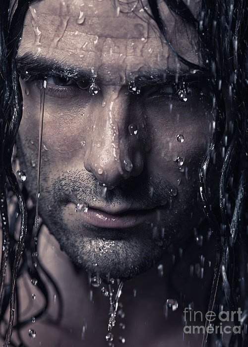 Man Greeting Card featuring the photograph Dramatic Portrait Of Man Wet Face With Long Hair by Oleksiy Maksymenko