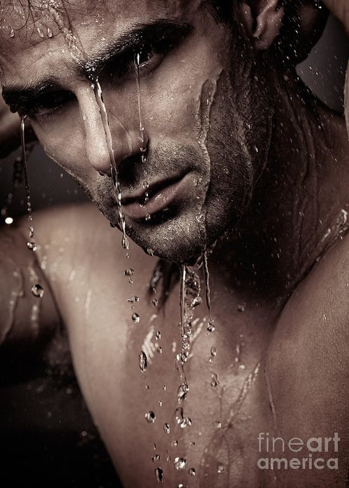 Man Greeting Card featuring the photograph Dramatic Portrait Of Young Man Under A Shower by Oleksiy Maksymenko