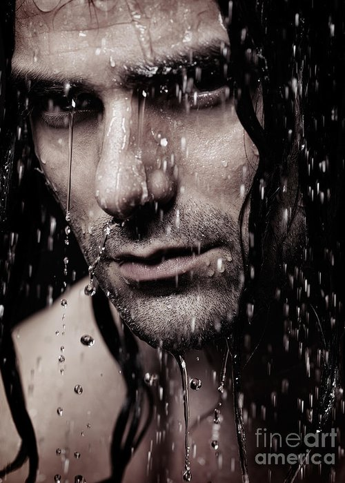 Man Greeting Card featuring the photograph Dramatic Portrait Of Young Man Wet Face With Long Hair by Oleksiy Maksymenko