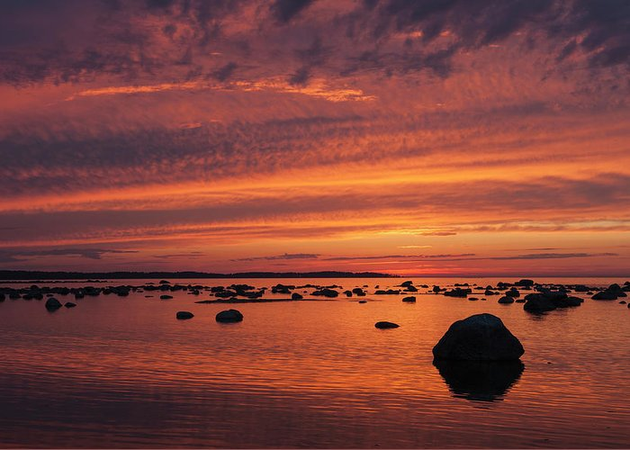 Tranquility Greeting Card featuring the photograph Dramatic Sunset Light by Franz Aberham