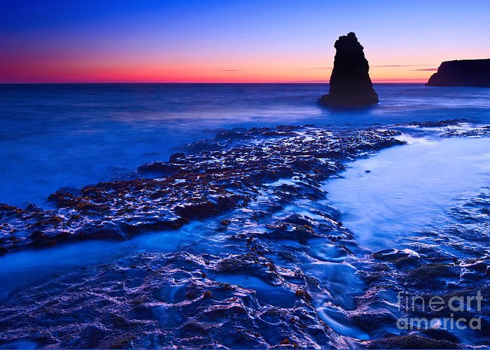 Davenport Greeting Card featuring the photograph Dramatic Sunset View Of A Sea Stack In Davenport Beach Santa Cruz. by Jamie Pham