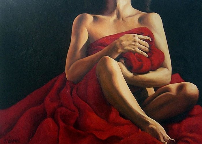 Nude Greeting Card featuring the painting Draped In Red by Trisha Lambi
