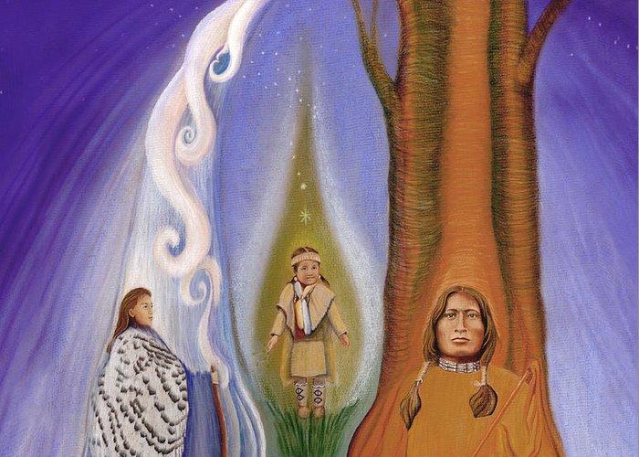 Native American Spirit Portrait Drawings Greeting Cards