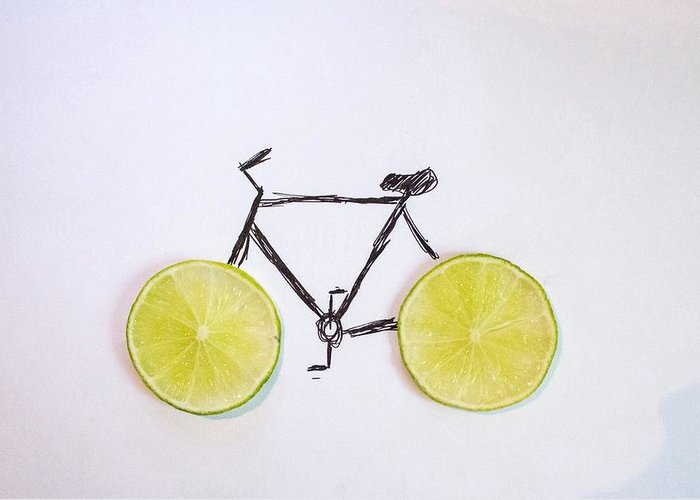 Vitamin C Greeting Card featuring the photograph Drawing Of Bicycle by Celine Nguyen / Eyeem