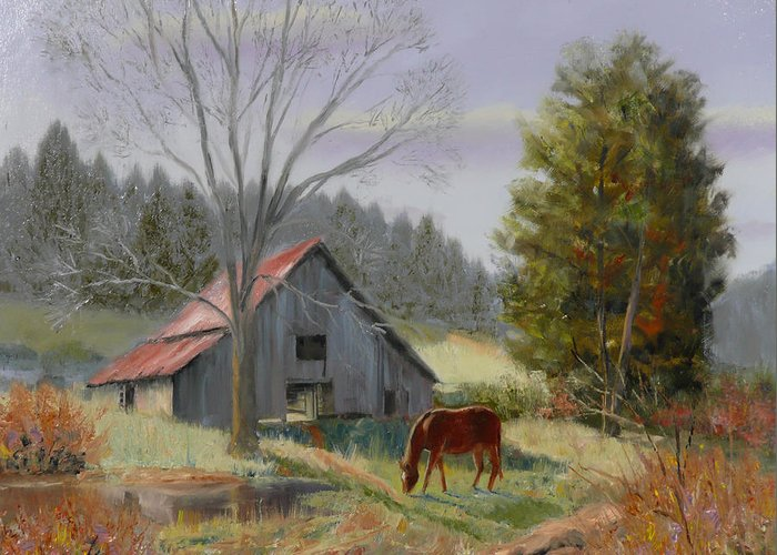 Landscape Greeting Card featuring the painting Dream Acres by Tommy Thompson