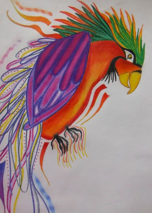 Colorful Greeting Card featuring the drawing Dream Bird by Hannah Myjak