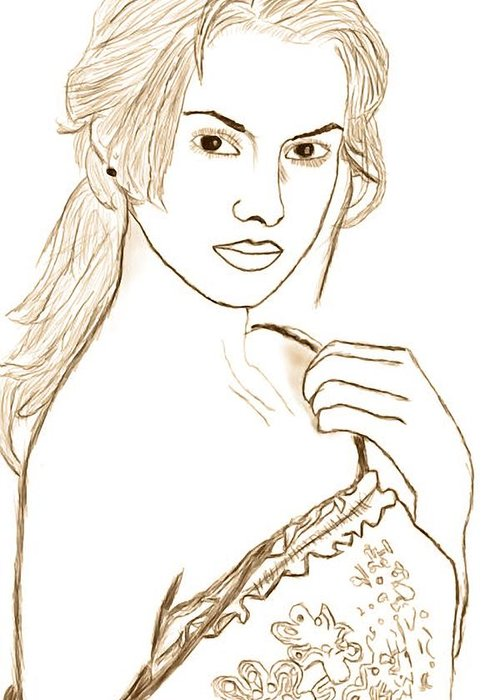 Sketch Greeting Card featuring the drawing Dream Girl Iredivina by Jawad Khan