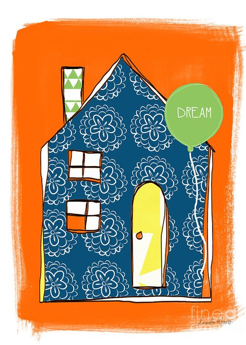 House Greeting Card featuring the painting Dream House by Linda Woods
