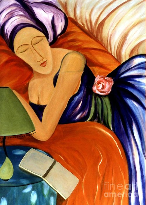 #female #figurative #floral #beauty #dream #fineart #art #images #painting #artist #print Greeting Card featuring the painting Dream by Jacquelinemari