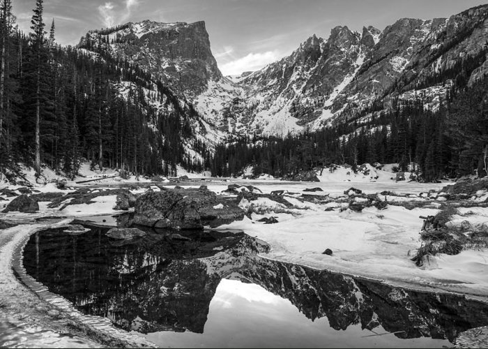 Colorado Greeting Card featuring the photograph Dream Lake Reflection Black And White by Aaron Spong
