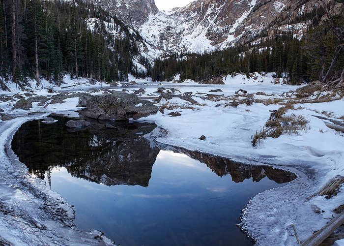 Colorado Greeting Card featuring the photograph Dream Lake Reflection Square Format by Aaron Spong