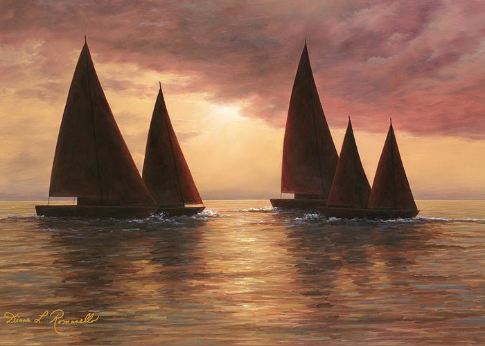 Sailboats Greeting Card featuring the painting Dream Sails by Diane Romanello