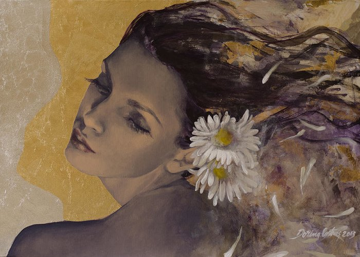 Art Greeting Card featuring the painting Dream Traveler by Dorina Costras