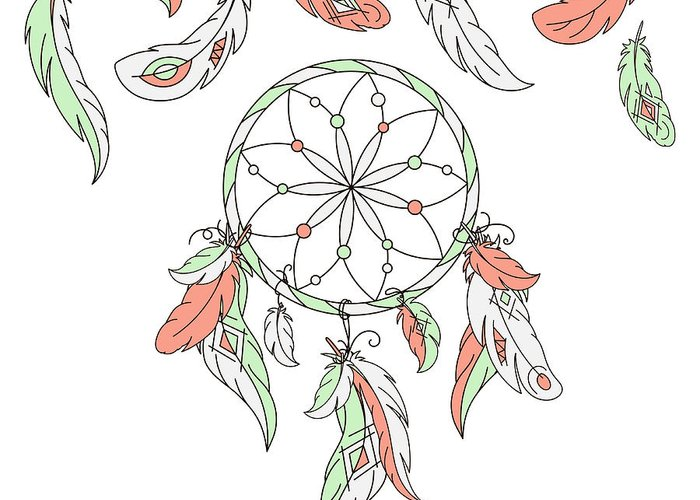 Magic Greeting Card featuring the digital art Dreamcatcher, Feathers. Vector by Laata9