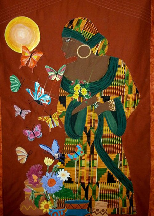 Quilts Greeting Card featuring the tapestry - textile Dreaming Butterflies by Linda Egland