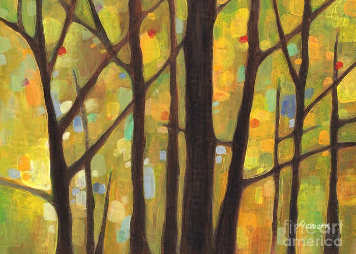 Dreaming Greeting Card featuring the painting Dreaming Trees 1 by Hailey E Herrera