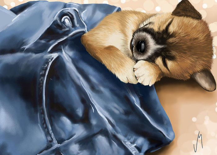 Dog Greeting Card featuring the painting Dreaming by Veronica Minozzi