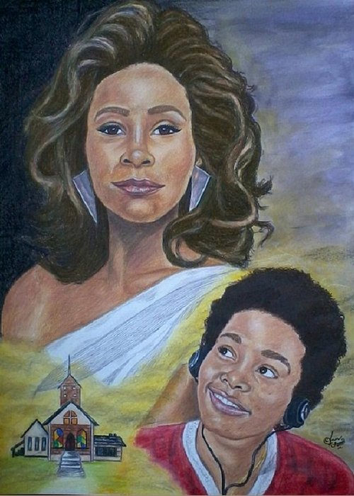 African American Greeting Card featuring the painting Dreams Do Come True Whitney by Arron Kirkwood