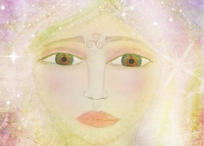 Celtic Goddess Greeting Card featuring the painting Dreams Of Avalon Tipple Goddess Guinevere by Sacred Muse