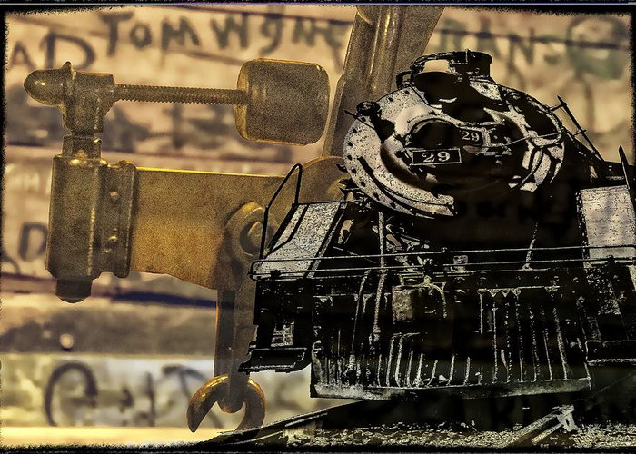 Train Greeting Card featuring the digital art Dreams Of Trains Past by Georgianne Giese