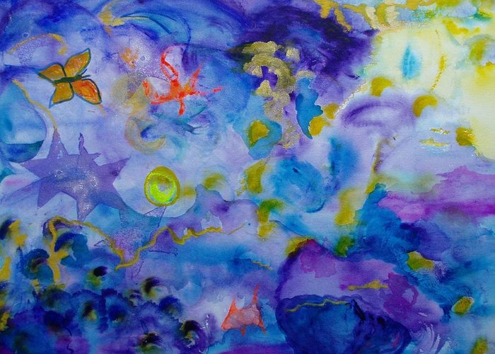 Watercolor Greeting Card featuring the painting Dreams by Phoenix Simpson