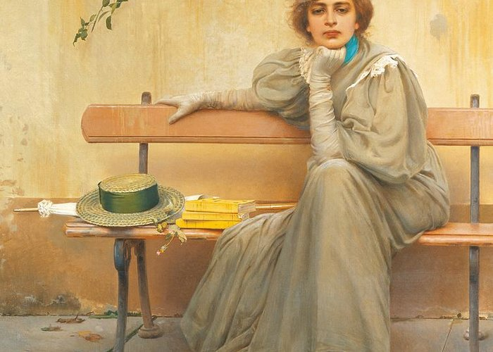 Painting; 19th Century Painting; States Of Mind; Europe; Italy; Corcos Vittorio Matteo; Clothing; Female Figure; Female Portrait; Pretty Greeting Card featuring the painting Dreams by Vittorio Matteo Corcos