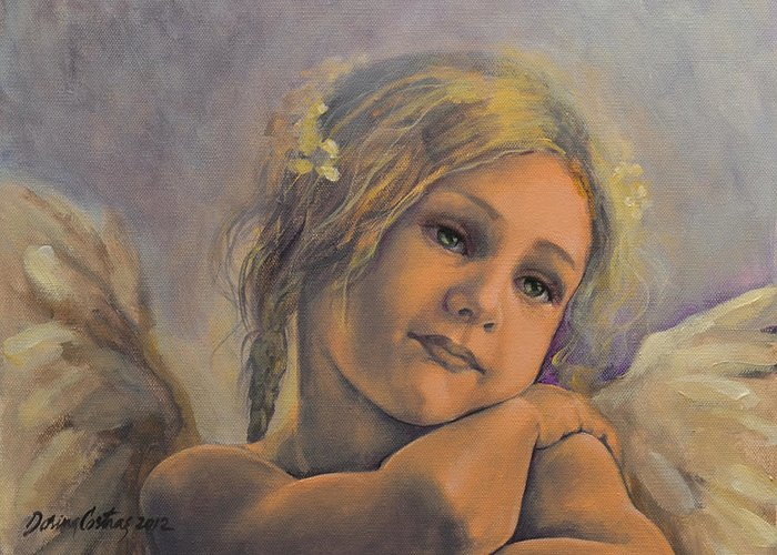 Art Greeting Card featuring the painting Dreamy Angel by Dorina Costras