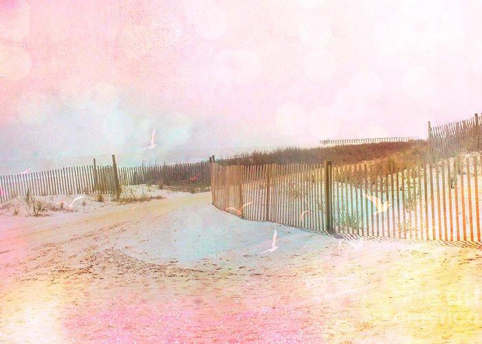Beach Ocean Photos Greeting Card featuring the photograph Dreamy Cottage Summer Beach Ocean Coastal Art by Kathy Fornal