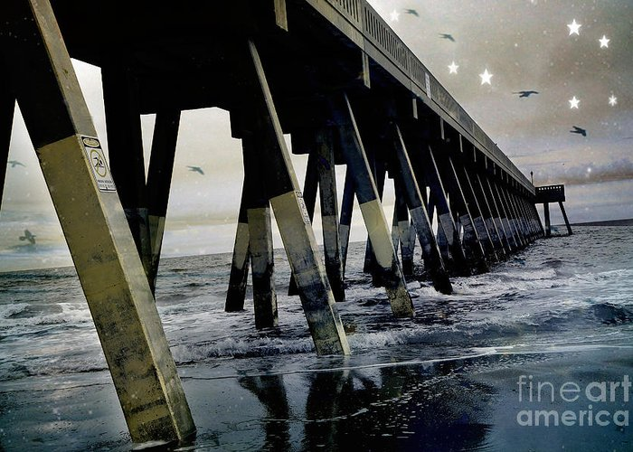 Ocean Photography Greeting Card featuring the photograph Dreamy Haunting Ocean Coastal Pier With Stars And Birds by Kathy Fornal