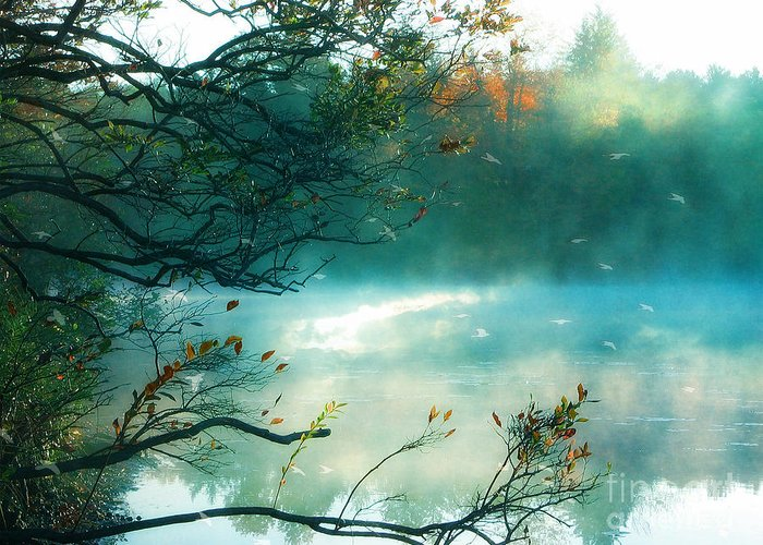 Aqua Teal Nature Trees Landscape Greeting Card featuring the photograph Dreamy Nature Aqua Teal Fog Pond Landscape by Kathy Fornal