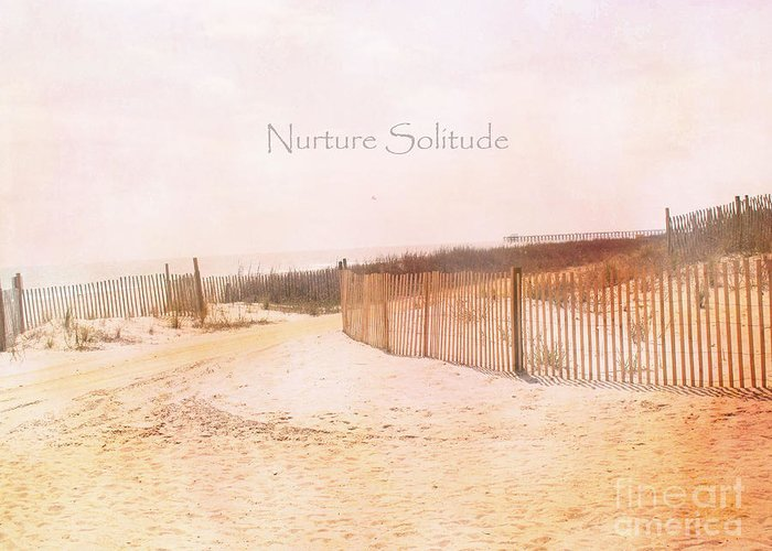 Beach Ocean Photos Greeting Card featuring the photograph Dreamy Pale Cottage Summer Beach Typography by Kathy Fornal