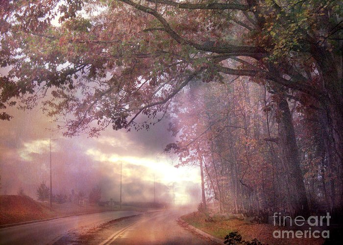 Pink Nature Tree Landscape Greeting Card featuring the photograph Dreamy Pink Nature Landscape - Surreal Foggy Scenic Drive Nature Tree Landscape by Kathy Fornal