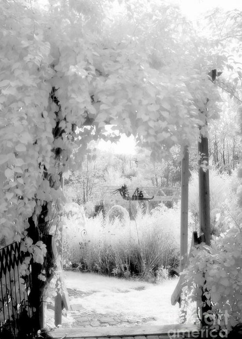 Infrared Art Prints Greeting Card featuring the photograph Dreamy Surreal Black White Infrared Arbor by Kathy Fornal