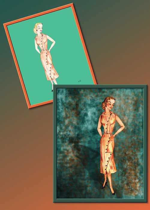 Fashion Greeting Card featuring the drawing Dress Design 18 by Judi Quelland