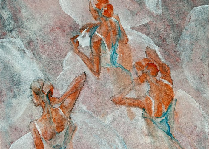 Ballet Greeting Card featuring the painting Dress Rehearsal by Jani Freimann