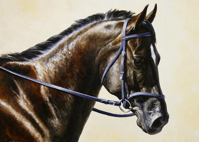 Horse Greeting Card featuring the painting Dressage Horse - Concentration by Crista Forest