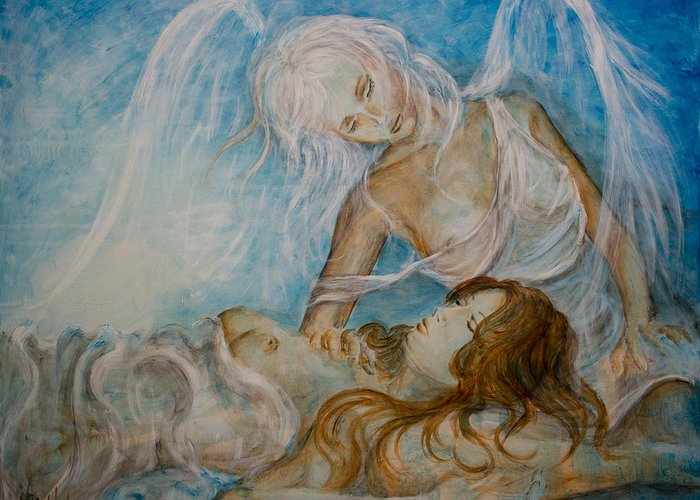 Sleeping Greeting Card featuring the painting Drifting 01 by Nik Helbig