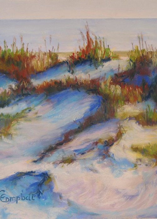 Beach Dunes Greeting Card featuring the painting Drifting Dunes by Cecelia Campbell