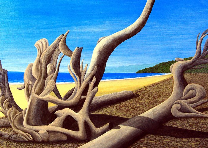 Landscape Artwork Greeting Card featuring the painting Driftwood - Nature's Artwork by Frederic Kohli