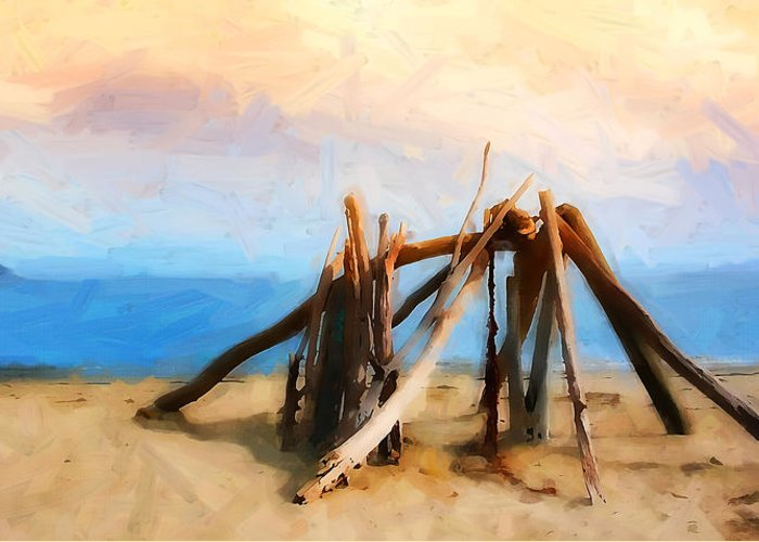 Driftwood At Rincon Greeting Card featuring the photograph Driftwood Sculpture At Rincon by Ron Regalado