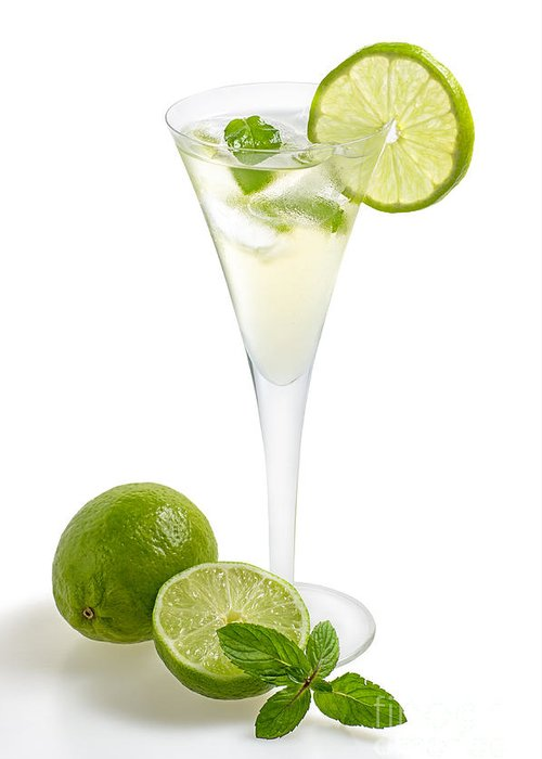 Champagne Greeting Card featuring the photograph Drink With Lime And Mint In A Champagne Glass by Palatia Photo